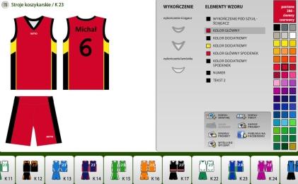 Kreator koszulek koszykarskich
